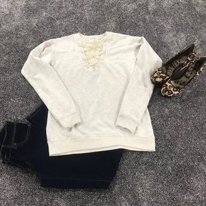 Maurice's sweater with lace detail. SHIRT ONLY